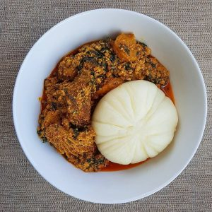 Pounded yam and egusi soup